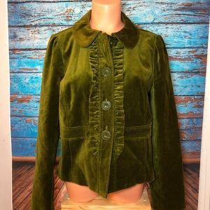 Halogen green velvet jacket blazer large l ruffles